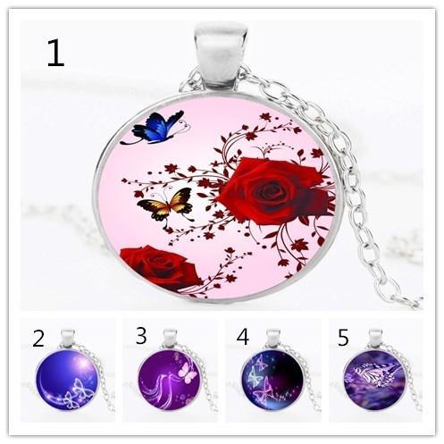 3D Red Rose Butterfly Pattern Original Design Necklace Time Gem Pendant Art Male Female Gift 2019 New Fashion Crystal Necklace Glass Tile Ne