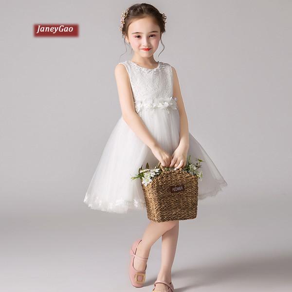 JaneyGao Çiçek Kız Elbise İçin Düğün Küçük Kız Prenses Resmi Elbise 2019 Yeni Beyaz Çocuk Doğum Abiye In Stock