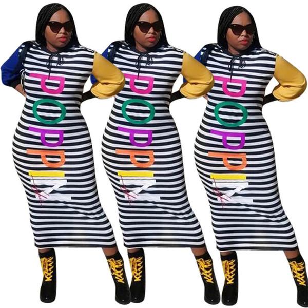 Mulheres com capuz stripe uma peça carta de moda vestido de saia ocasional plus size saia pacote tarja pano de manga longa inverno queda saia hip 2294