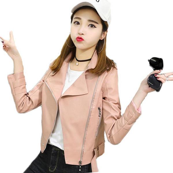Belle Printemps Automne Pop Étudiants Coréens Faux En Cuir PU Veste Femmes De La Mode Mince Slim Moto Revers Veste En Cuir Courte