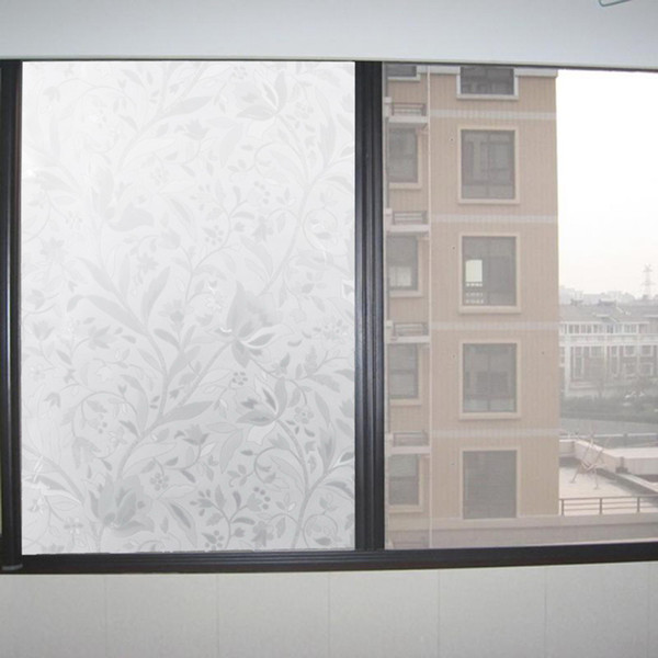 best selling Elegant flower vine texture Self Adhesive Static Privacy static-free gel Glass Window Film Thermal Insulating Stick