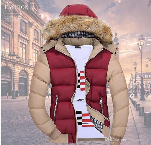 С капюшоном Мех Mens пальто зимы моды теплый толстый пуховик Открытый Лоскутная мужские ветровки с карманами