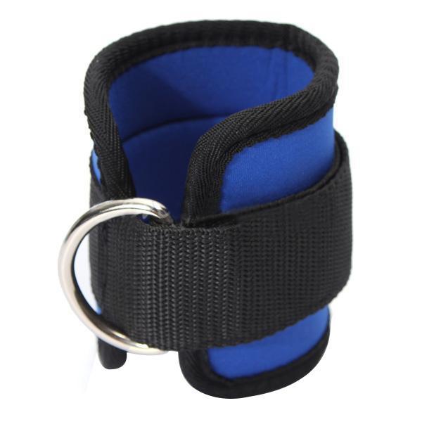JHO - Cinturino alla caviglia D-ring Sport Palestra Fitness Attaccatura coscia Leg Pulley Sollevamento pesi Blu Nero # 261773