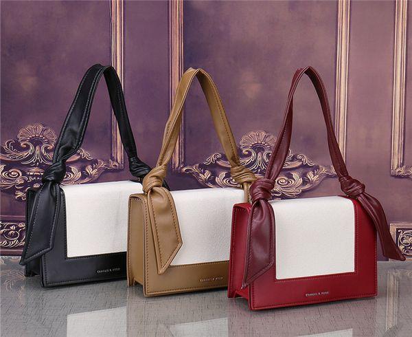 women fashion color matching ribbons handbag small square bag OL business storage diagonal cross briefcase brand 3 color shoulder bag