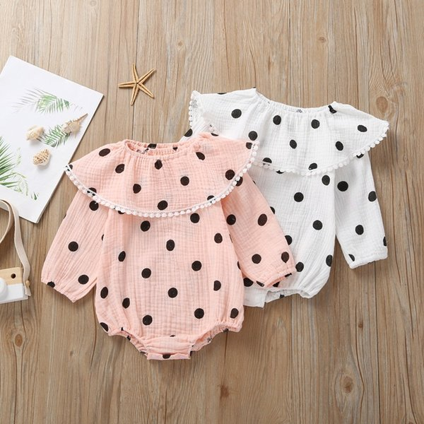 Baby Girls Polka Dot Rompers with Removable Collar Fall 2019 Kids Boutique Clothing Infant Toddler Girls Long Sleeves Triangle Onesie