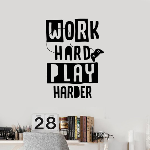 Gamer Quote Vinyl Wall Decal Video Game Work Hard Play Harder Art Stickers  Mural Bedroom Decoration Wall Sticker Wall Decals For Bedroom Wall Decals  ...