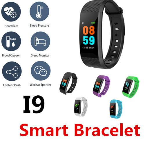 I9 Smart Bracelet Mini TFT color screen Blood Oxygen&Pressure Heart rate IPness tracker Call WeChat QQ face book Bottom touch IP67