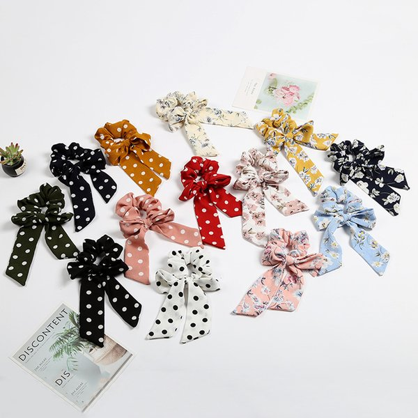 12styles Scrunchy Bow Dot Headbands Vintage Girl Flower Hair Women HairBands Ties Ponytail Holder Rubber Rope Ribbon Long Bow FFA2234