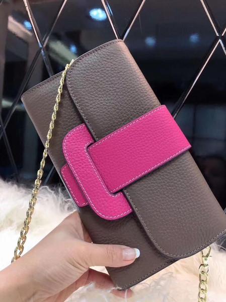 19 hot ladies platinum clutch, ladies solid color togo leather wallet, detachable chain shoulder bags, top cover sealing clutch, hand shoul