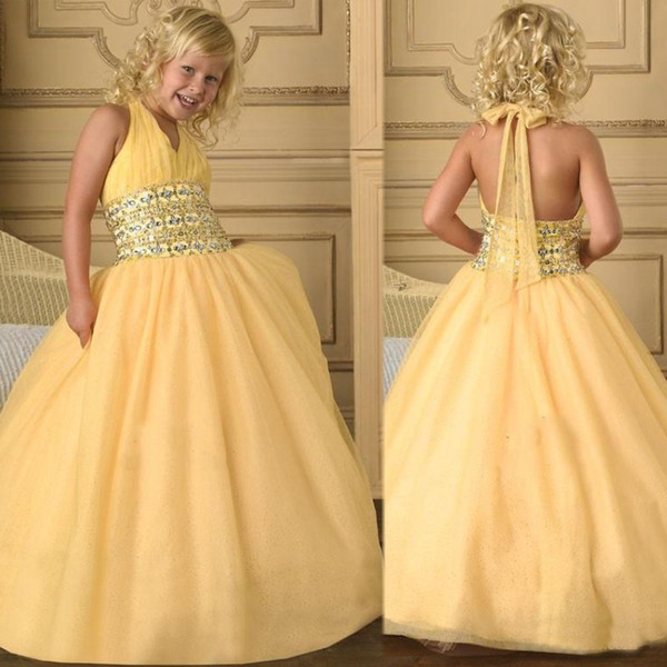 Beading Sequins Halter Fitn Flare Stunning Glamorous Ball Gown Kids Formal Dresses Tulle Flower Girls Pageant Dress Free Shipping