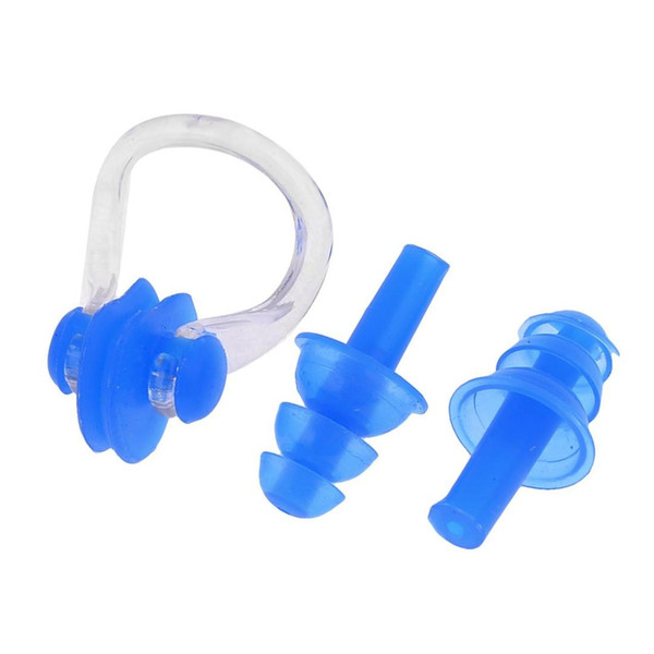 ELOS-Waterproof Silicone Swimming Swim Earplugs for Adult Swimmers Children Diving Soft Anti-Noise Ear Plug with Nose Clip