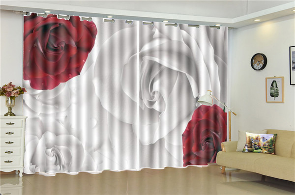 2019 3d Curtain Wholesale Curtains For Living Room Red White Rose Window  Treatment Drapes Home Decor From Yunlin188, $194.98 | DHgate.Com