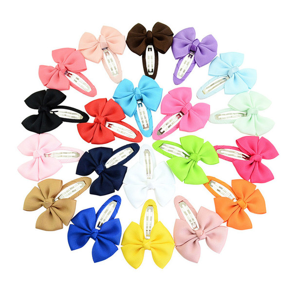 100Pcs/Lot 2 Inch 20 Colorful Barrettes Sweet Children Ribbon Bows Hairpin /Baby Girls Hair Clip /Kids Hair Accessories Beautiful HuiLin B1