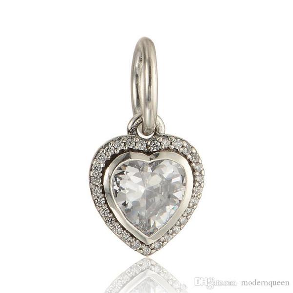 fascini del cuore pendenti S925 si adatta in argento sterling per i braccialetti europei di fascini di pandora stile liberano il trasporto LW603H6