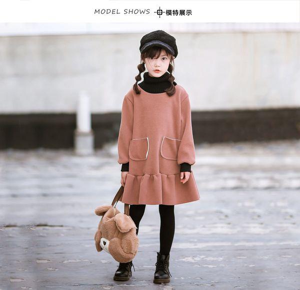 Girls High collare caldo abito caduta velluto spesso principessa Abiti bambini bella increspature vestiti di un pezzo dei nuovi bambini di inverno