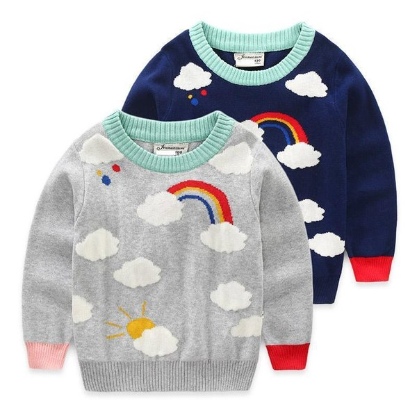 New Kids baby girl sweaters Cute Clothing boys Knitted coat Cloud Pattern Children Autumn Pullover Full Sleeve Sweaters Rainbow