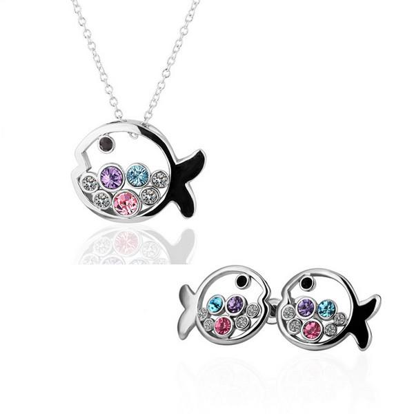 Hot Sale 18K Platinum Plated Cute Fish Princess Women Jewelry Sets Genuine Austrian Crystal Fashion Necklaces Stud earrings for women