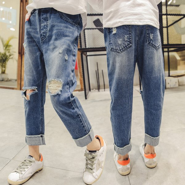 2019 new spring girls jeans size 150 160 casual children teens clothes children broken hole pants girl clothes Girl hole jeans