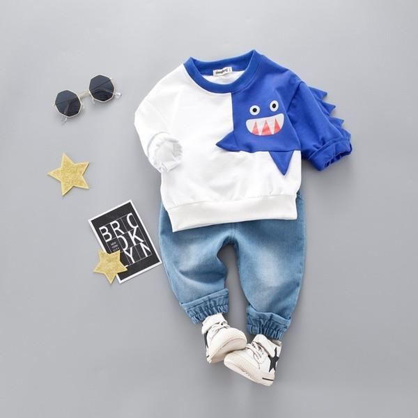 2019 Spring Infant Clothing Kid Sports Shark Shape T-shirt Pants 2pcs/Sets Children Toddler Tracksuit Baby Boy Girl Clothes Suit