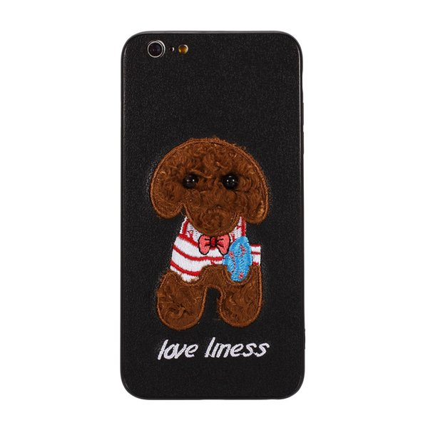 3D Embroidery Case For iPhone 6 6 Plus Cover Fashion Cute bear Dog embroider covering Shockproof Cases For iPhone 6S 6S Plus
