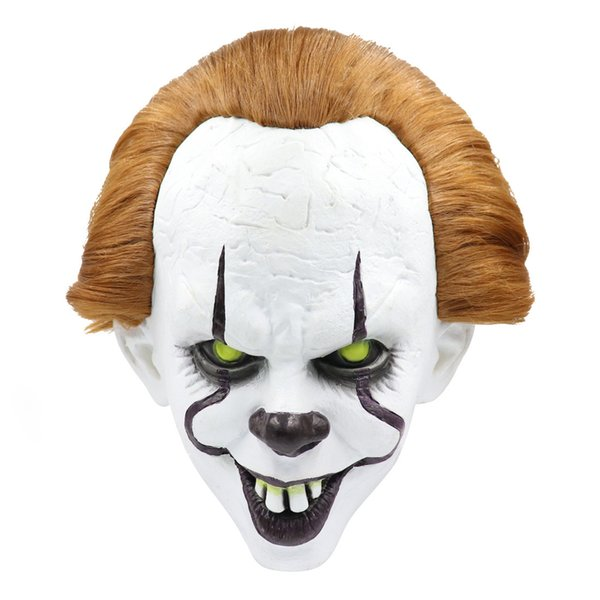 Máscara de Palhaço Cosplay New Horror Filme Engraçado É Capítulo Dois Pennywise Látex Adulto Cabeça Cheia de Halloween Assustador Trajes Máscaras de Estilo de Sorriso