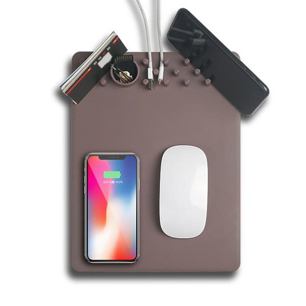 Hot Creative Qi cargador inalámbrico Mouse Pad antideslizante estera soporte de teléfono organizador de escritorio