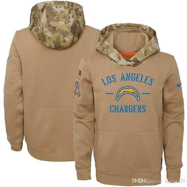 2019 Los Angeles Männer Frauen Jugend American-Football-Sweatshirt Ladegeräte 2019 Salute to Service-Sideline Therma PulloverHoodie Tan