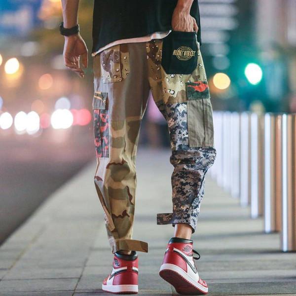 2019 Moda multibolsillo pantalones de harén de los hombres Streetwear Casual Camuflaje Jogger Pantalones Hombres Cordón Ejército Verde Pantalones de camuflaje