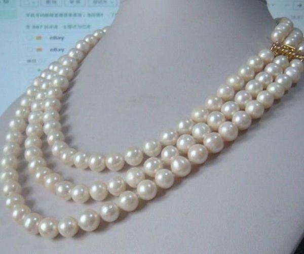Perlas finas joyas de alta calidad CALIENTE hebras Hutriple 9-10mm Real Australiana del sur del mar blanco collar de perlas 18-22
