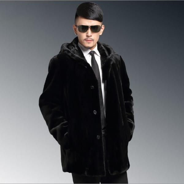 2020 Mens invernale con cappuccio del rivestimento di cuoio Faux Fur Coat manica lunga Furry Outerwear Plus Size Nero Cappotti XL679