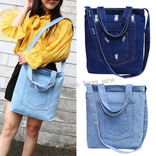 Fashion Women Denim Shoulder Bag Solid Color Zipped Handbag Ladies Girls Casual Vintage Jeans Crossbody Messenger Bags Free shipping