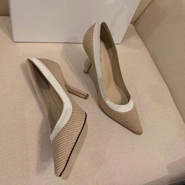 Kutulu moda tasarımcısı kadın yüksek topuklu 9.5 cm çıplak deri yüksek topuklu sivri elbise ayakkabı boyutu;