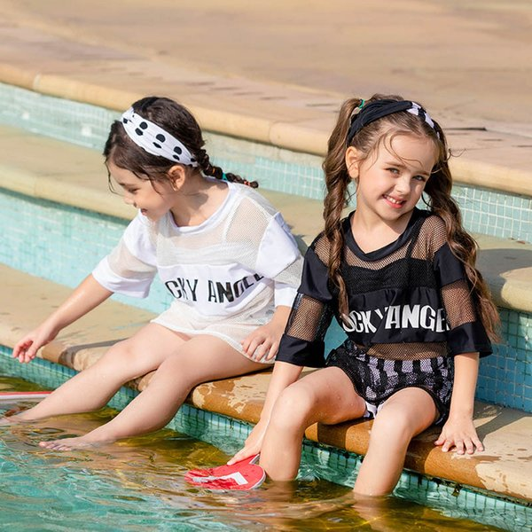 2019 new style kids swimwear 4pcs/set Tops+ shorts+outerwear+headband Girls Swim Suits Bikini Kids Bathing Suits Child Sets Beachwear A3132