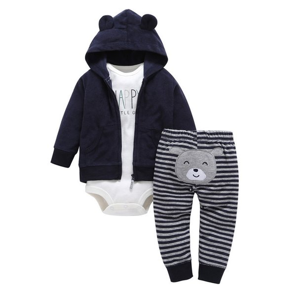Real New Arrival Fashion Polyethersulfone Cotton Unisex Baby Girl Clothing Spring Autumn 3 Unids / Set Zipper Newborn Suit Q190521