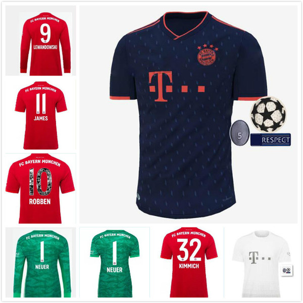 2019 2020 thaïlande Bayern Munich LEWANDOWSKI Accueil Soccer Jerseys JAMES 19 20 3e loin MULLER TOLISSO ALABA VIDAL chemises de football