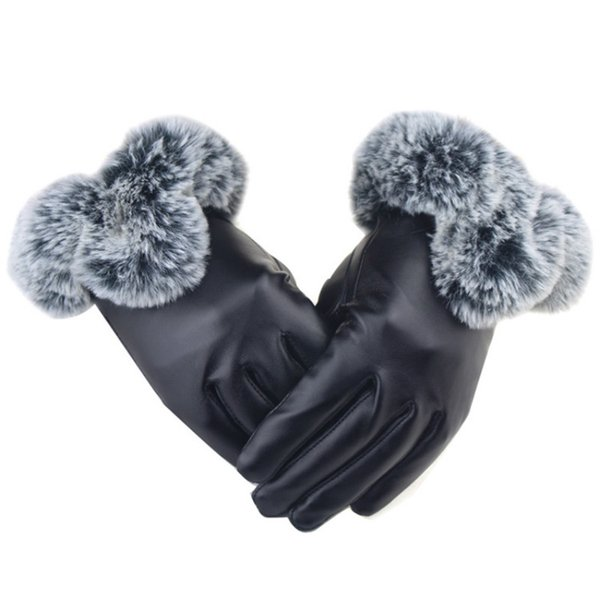 UK Women Winter Faux Sheepskin Gloves Warm  Fur Lady Mittens