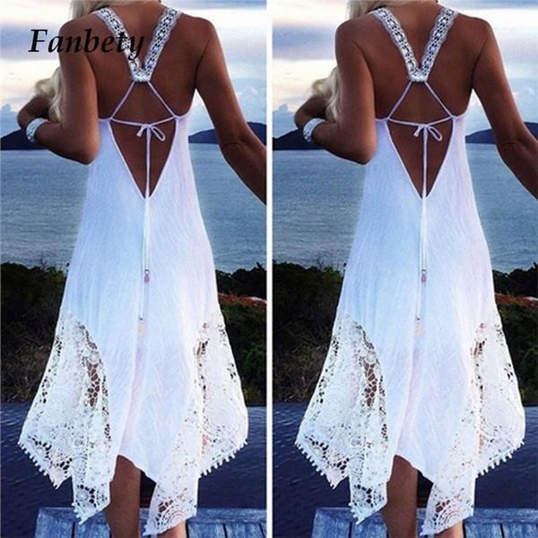 Fanbety Sexy Women Swim Dress Spaghetti strap Long Beach Dress 2019 Solid Tunica Swimsuit Bikini Lace Cover Up Beach Costumi da bagno 5XL