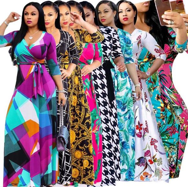 Vestido de noche elegante de la manga del palo del perfil aerodinámico de las mujeres Vestido maxi del estilo étnico africano Color puro Cintura alta Falda larga delgada