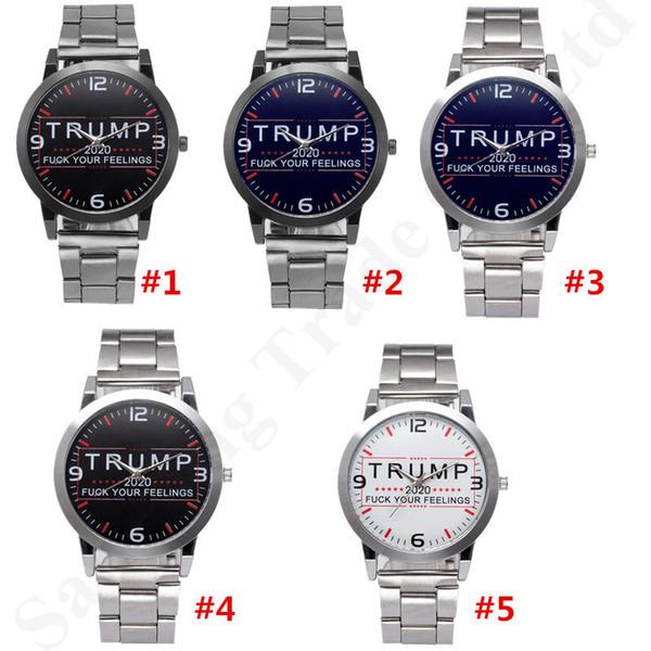 Trump 2020 Mulheres Homens Relógios Retro Relógios de Pulso de Quartzo Pulseira de Aço Inoxidável Cronômetro Assista Movimento Automático Relógios Mecânicos B82702