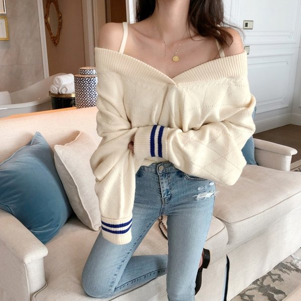 a4ec0030bd Missoov Sweaters Fashion 2018 Women Strapless V-neck Sexy Knitted Top  Strapless Korean Loose Autumn