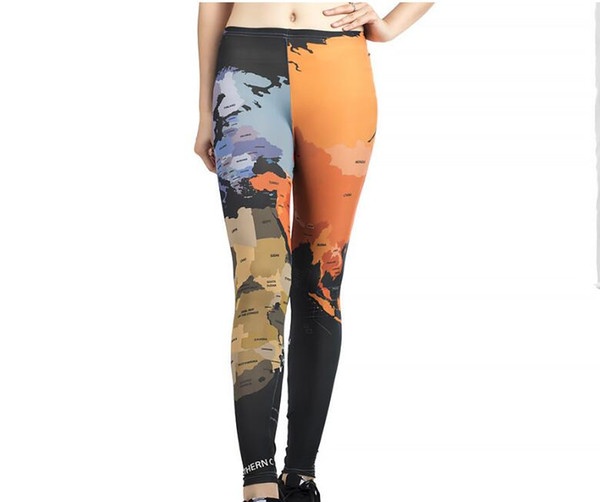 Women Yoga trousers pants Tights trousers Female Nine High waist dance active Leggings Digital printing milk silk elasticity Skinny