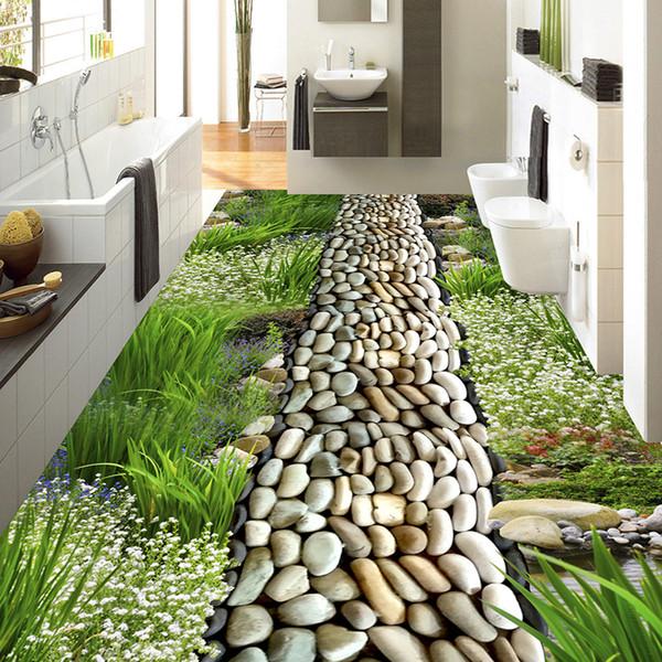 Flor Hierba Adoquinado Estilo Pastoral Suelo 3D PVC Pintura de suelo a prueba de agua Mural Foto de encargo Murales de pared 3D Wallpaper