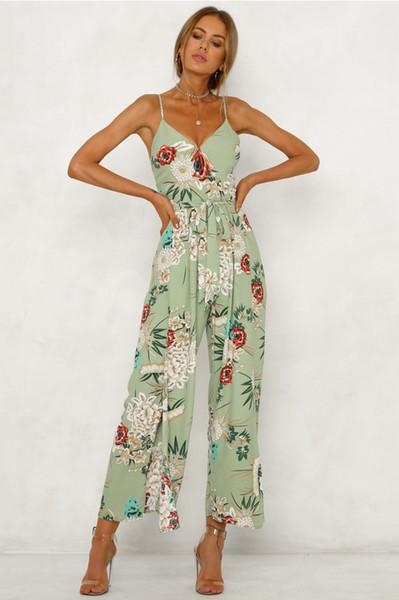 Rahat V Necck Geri Oymak Sashes Bayanlar Tulum Yeni Tasarımcı Flora Baskı Breif Giyim Moda Tulum