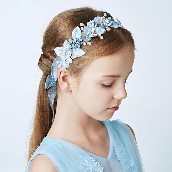 Azul nupcial floral headband para crianças acessórios de cabelo de casamento pérolas da dama de honra cocar festival de cristal cabelo jóias