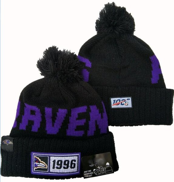 best selling Wholesale Top Quality Ravens Beanies Winter cap with Pomp Sport Pro Line by Fanatics Branded Black Team Haze II Cuffed Knit Hat