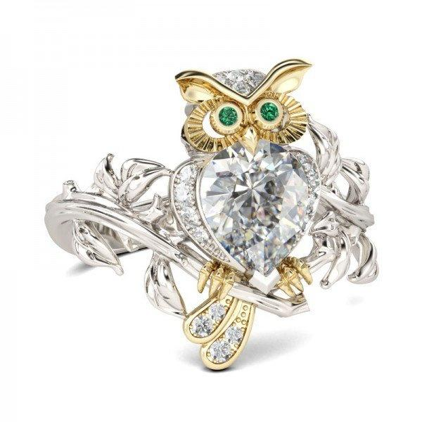 Women's Silver Floral Ring Two Tone Gold Lucky Mascot Owl Green CZ Eye & Crystal Jewelry Party Christmas Gift Wedding Band Rings