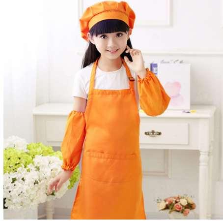 Kitchen Apron for Kids Children Play Pretend Apron Set Kitchen Pastry Chef Clothing Apron with Hat new arrival - L