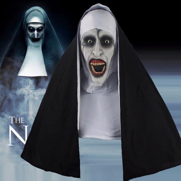 Orrore di Halloween Femminile Faccia Maschera Parrucca Maschera Partito decorativo Forniture faccia + panno bianco + panno nero Set 3 pezzi