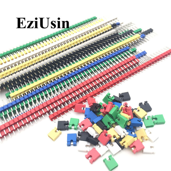 top popular Cheap Connectors 90pcs lot 2.54 40 Pin 1x40 Single Row Male Breakable Pin Header Connector Strip & Jumper Blocks for Arduino Colorful 2.54mm 2021
