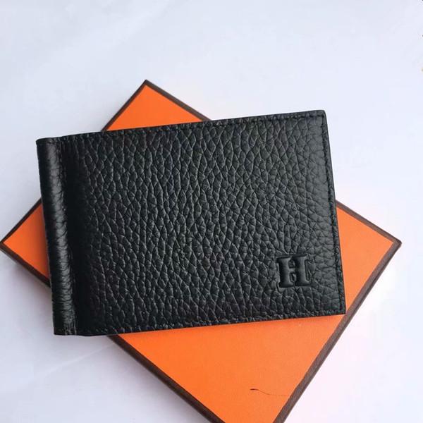 Cartera para tarjetas de crédito Hombre Diseñador de moda Carteras cortas Top Cuero de vaca Clip para billetes Monederos finos Unisex Titular de la tarjeta de crédito con caja de embalaje